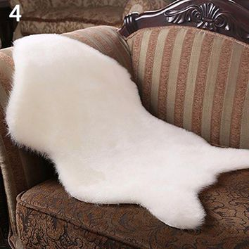 Imitation Wool Carpet Chair Cover Bedroom Faux Mat Seat Pad Plain Skin Fur Plain Fluffy Area Rugs Washable Artificial Textile