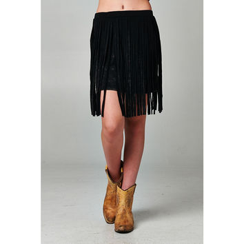 Black Distressed Fringed Skirt