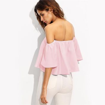 Sexy Off Shoulder Half Sleeve Slim Tops