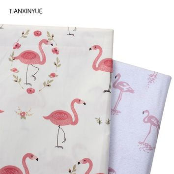 TIANXINYUE Choose size 98% cotton fabric twill meter Flamingo fabric DIY bedding cloth Sewing patchwork quilting fabric