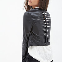 FOREVER 21 Shredded Faux Leather Biker Jacket Black