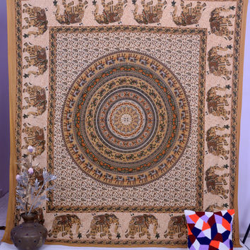 Elephant Mandala Hippie Tapestry, Boho Wall Hanging, Indian Bedding Bedspread, Ethnic Bohemian Wall Decor Tapestry, Queen Hand Block Throw