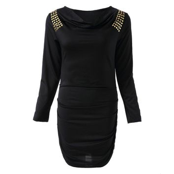 Casual Draped Collar Sequined Long Sleeve Dress For Women