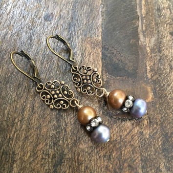 Pearl Crystal Earrings, Rustic Filigree Bronze, Boho Earrings, Beaded Jewelry by Two Silver Sisters