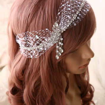 Art Deco Halo headpiece, Rhinestone Crystal Wedding Chain hairpiece, Boho Bridal Wreath Crown, Grecian Headband Netting Hair Accessories