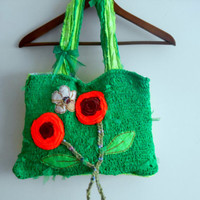 Mother's Day, Green Knit Bag,Recycle Bag,Applique Bag,Flower Bag,Women's Handbags, Accessories Bags, Handmade Bags, Mesh Bags, Shoulder Bags