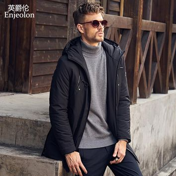 Cotton Padded long Jacket coat Men Parka hoodies collar coat Thick Quilted fashion Coat Men
