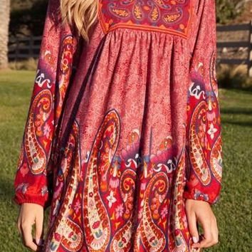 Casual Cowgirl Paisley Print Dress Red Short Sleeves