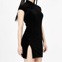 Black Velvet Cheongsam Harajuku Mini Dress
