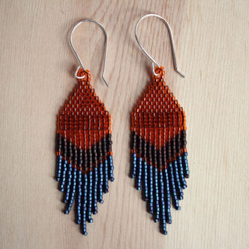 short and pointed BRONZE brick-stitched delica seed bead earrings