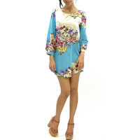 Santa Anna Floral Bouquet Teal Scarf Dress