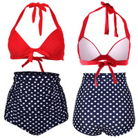 Polka Dot Printed High Waist Bikini
