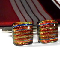Red Striped Cufflinks, Fused Dichroic Glass, Gift for Him