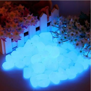 100PCs /Pack Gravel for Garden Yard Glow in the Dark Pebbles Stones Walkway Wedding Party Supplies Luminous Ornaments Decoration
