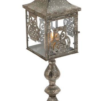Candle Holder with Charming Owl Motifs