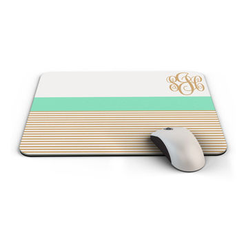 Monogrammed Mousepad, Custom Mouse Pad personalized with your name initials or monogram, Made to Order - 0020