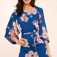Joyful Noise Denim Blue Floral Print Mini Dress