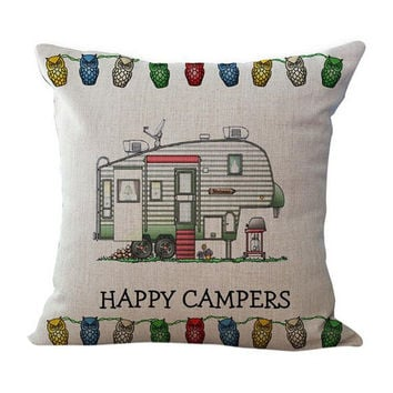 Happy Campers Cut Bus Home Decorative Pillow covers