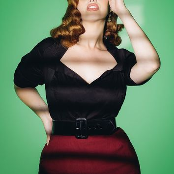 Pinup Couture Plus Size Doris Top in Black