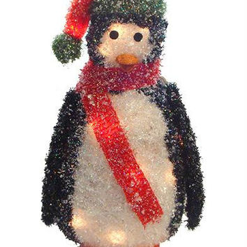 Penguin Christmas Yard Art - 20 Clear Mini Lights