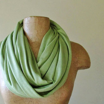 Asparagus Green Infinity Scarf - Lightweight Cotton Jersey Loop Scarf - Handmade Wasabi Green Circle Scarf