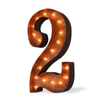 """36"""" Number 2 (Two) Sign Vintage Marquee Lights"""