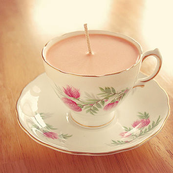 Teacup Candle - Vintage Royal Vale China Cup with Pink Floral Design filled with Essential Sweet Orange Soy Wax Candle