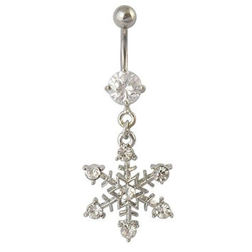Sunshinesmile Stainless Steel Snowflake Rhinestone Navel Belly Button Ring Bar Body Jewelry