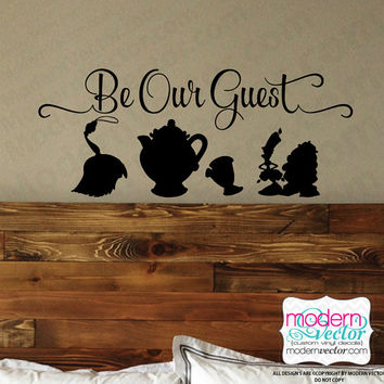Beauty and the Beast Be Our Guest Quote Vinyl Wall Decal Sticker Lettering Playroom Art Room Nursery Silhouettes Disney quote
