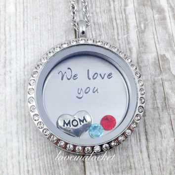 Mom Locket, Floating Locket, Mom Birthstone Necklace, Mother's Necklace, We Love You Mom, Mom Birthday Gift, Hand Stamped Mom Necklace
