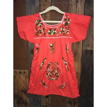 Mexican Dress for Girls Orange
