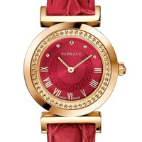 Women's Versace 'Vanity' Leather Strap Watch, 35mm - Red