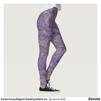 Luxurious,elegant laced pattern in faded-lilac leggings