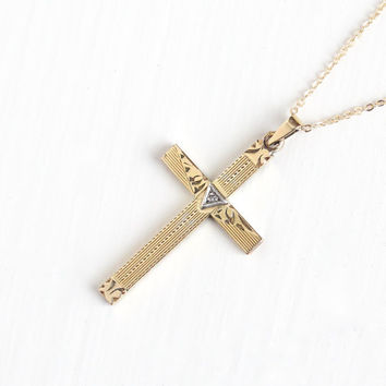 Vintage 12k Yellow Gold Filled Diamond Cross Necklace - Vintage Art Deco Crucifix Religious Pendant 1940s Etched Jewelry