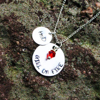"""Personalized Hunger Games Necklace. Inspired Hunger Games Necklace. """"Girl On Fire"""" Necklace with Initials"""