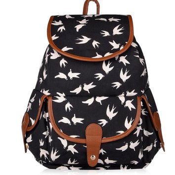 Birds Print Canvas Backpack for Women & Girls Boys Casual Book Bag Sports Daypack
