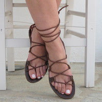 NEW Women Greek Leather Sandals, Brown gladiator sandals handmade, Unique design, DEMETRA 02