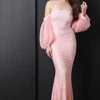 Off The Shoulder Cuff Sleeve Mermaid Dress