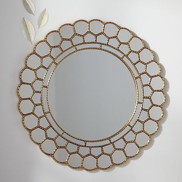 Gold Circle Blossom Mirror | Pottery Barn Kids