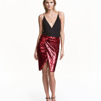 Sequined Wrap Skirt - from H&M