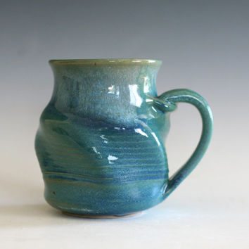 Twisted Mug, unique coffee mug, ceramic cup, hand thrown mug, stoneware mug, wheel thrown mug, tea mug