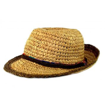 NEW Acorn Womens Summer Straw Fedora Hat Comfortable Natural A31031 One Size