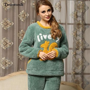 Women's Pajamas Winter Thickening Coral Fleece Anime Plush Pullover Sleepwear Girls Flannel Lounge Pajama Set