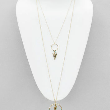 Layered  Gold Chain Arrow and Feather Long Necklace