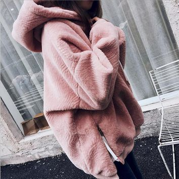 Winter Faux Fur Jacket side zipper split sweatshirt women Warm Velvet Hooded Hoodies Cap Hoody Outwear loose fur coat pullovers