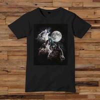 Black Howling Wolf 10x12 inch white T shirt White Black Dsign t-shirt men S,M,L,XL