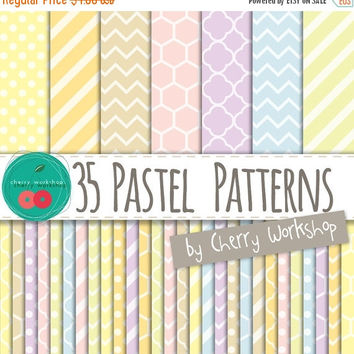 "SALE Pastel Digital Paper ""Pastel Patterns"" Spring Digital Paper in Pastel Colors - cute backgrounds for scrapbook, cards, invites, party de"