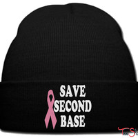 save second base pink beanie knit hat