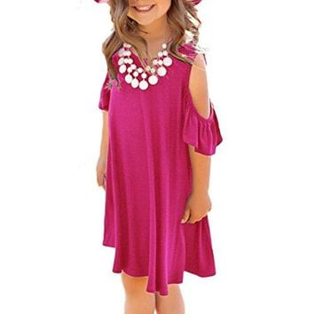 irene inevent Girls Summer Cold Shoulder Ruffled Short Sleeve Casual Loose Tunic Dress