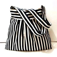 Black and White Stripe-Shoulder Bag-Pleated-Double Straps